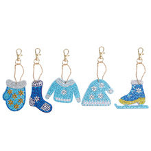 5Pcs Christmas Costume Design 5D Full DIY Diamond Painting Keychain Custom Painitng With Round Beads One Pack Special