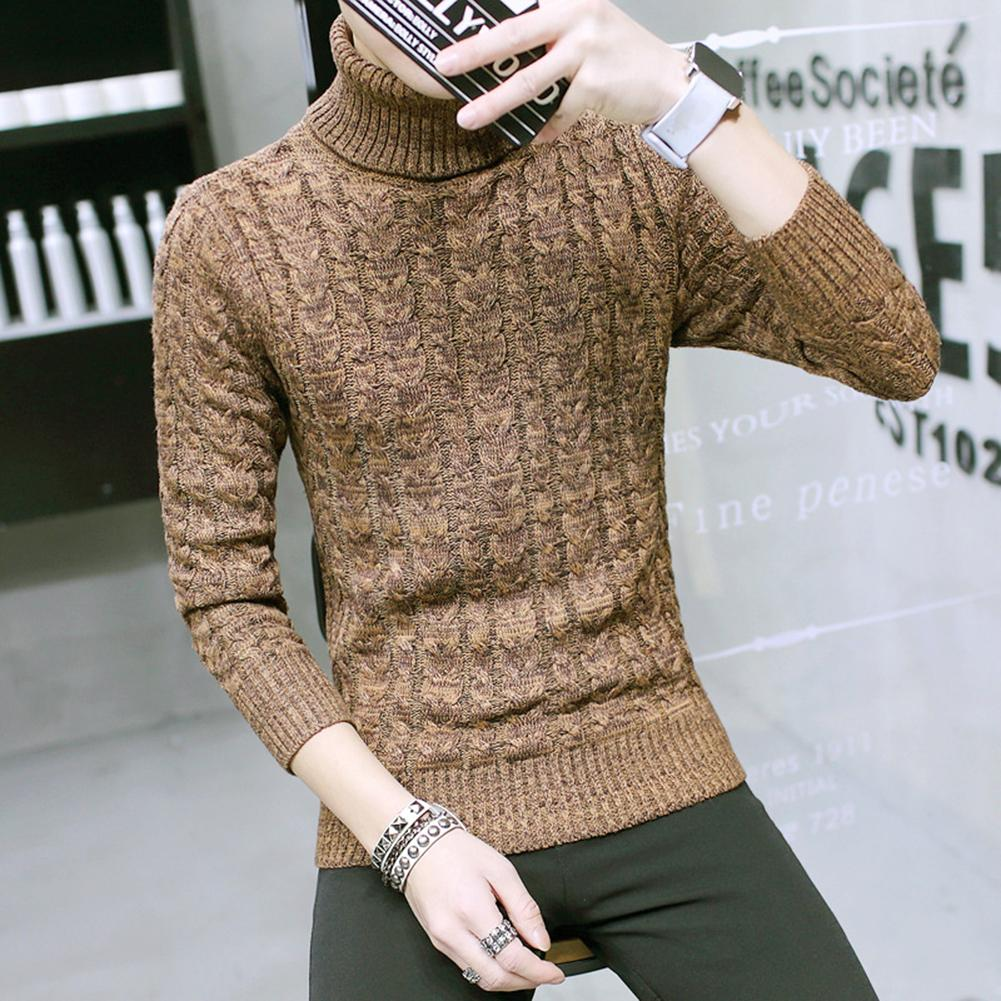 Casual Men Solid Color Winter Turtle Neck Long Sleeve Twist Slim Knitted Sweater Turtle Neck Long Sleeve Twist Slim Sweater