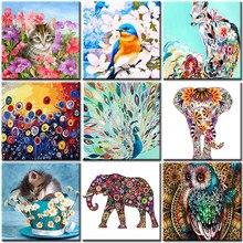 Pintura a óleo por números animais flor sobre tela com quadro pintados à mão desenho tintas para adultos coloração por número decoração