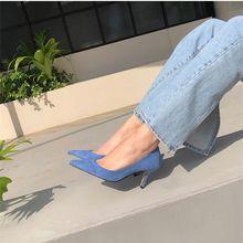 Eooodoit 6 cm 8 cm sapatos de salto alto moda formal sapatos de festa de escritório sexy dedo do pé apontado deslizamento sobre
