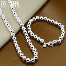 DOTEFFIL – ensemble de colliers et Bracelets en argent Sterling 925 pour femmes, 8mm de diamètre, perles rondes lisses et creuses, bijoux de fête de fiançailles et de mariage