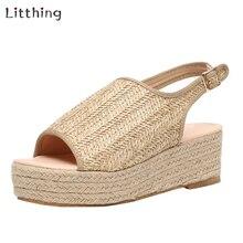 Litthing/летние женские пеньковые сандалии; модная женская пляжная обувь; обувь на танкетке; удобная обувь на платформе; Новинка