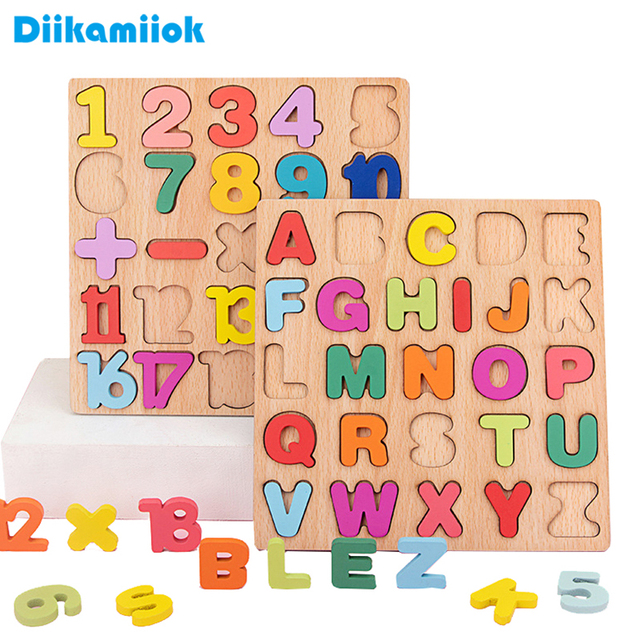 New Wooden 3D Puzzle Toy Kids English Alphabet Number Cognitive Matching Board Baby Early Educational Learning Toys for Children
