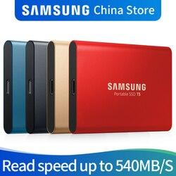 سامسونج T5 المحمولة SSD 250GB 500GB 1 تيرا بايت 2 تيرا بايت USB3.1 الخارجية الحالة الصلبة محركات USB 3.1 Gen2 والخلف متوافق مع الكمبيوتر