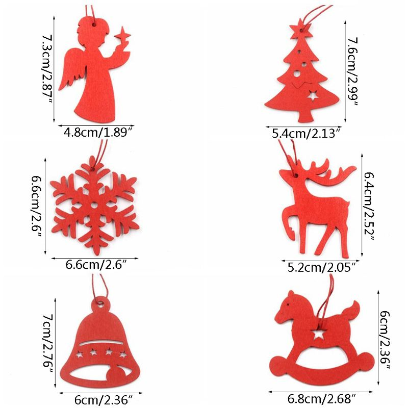 Gifts Elk Christmas Tree Decoration Wooden Ornaments  Snowflake Xmas Hanging