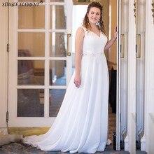 Elegant V Neck Plus Size Vestidos Noiva Court Train Custom Made Beaded Chiffon Wedding Dresses