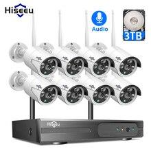 Hiseeu 1080P H.265 + אלחוטי טלוויזיה במעגל סגור מערכת 8CH 2M HD wi fi NVR ערכת חיצוני אודיו IP Wifi מצלמה אבטחת מערכת מעקב סט