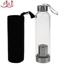 Популярная стеклянная Спортивная бутылка для воды с ситечком для заваривания чая, защитный мешок 550 мл