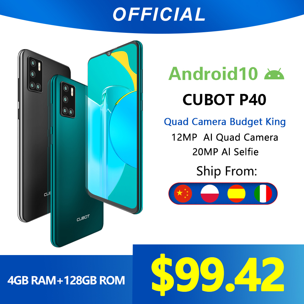 Cubot P40 Rear Quad Camera 20MP Selfie Smartphone NFC 4GB+128GB 6.2 Inch 4200mAh Android 10 Dual SIM Card mobile phone 4G LTE(China)