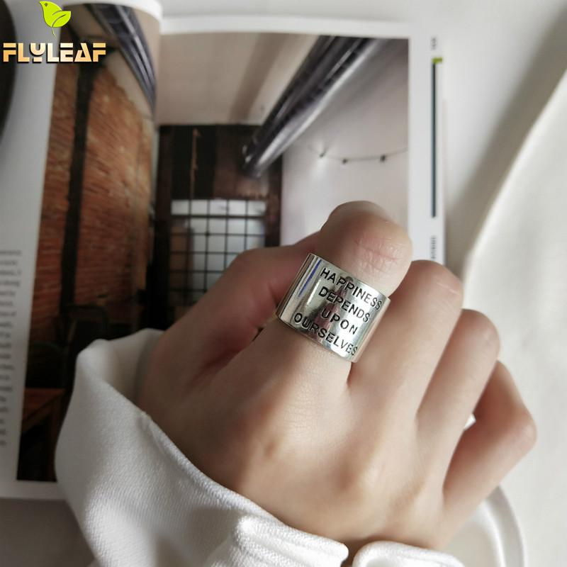 Flyleaf letter happiness <font><b>Real</b></font> <font><b>925</b></font> Sterling Silver <font><b>Rings</b></font> <font><b>For</b></font> <font><b>Women</b></font> High Quality Fine Jewelry Wide surface open <font><b>Ring</b></font> Vintage image