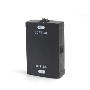 Male-Female Audio Converter Coaxial TO Toslink Optical Digital 24 Bit / 192 K HD Sampling Black Wholesale image