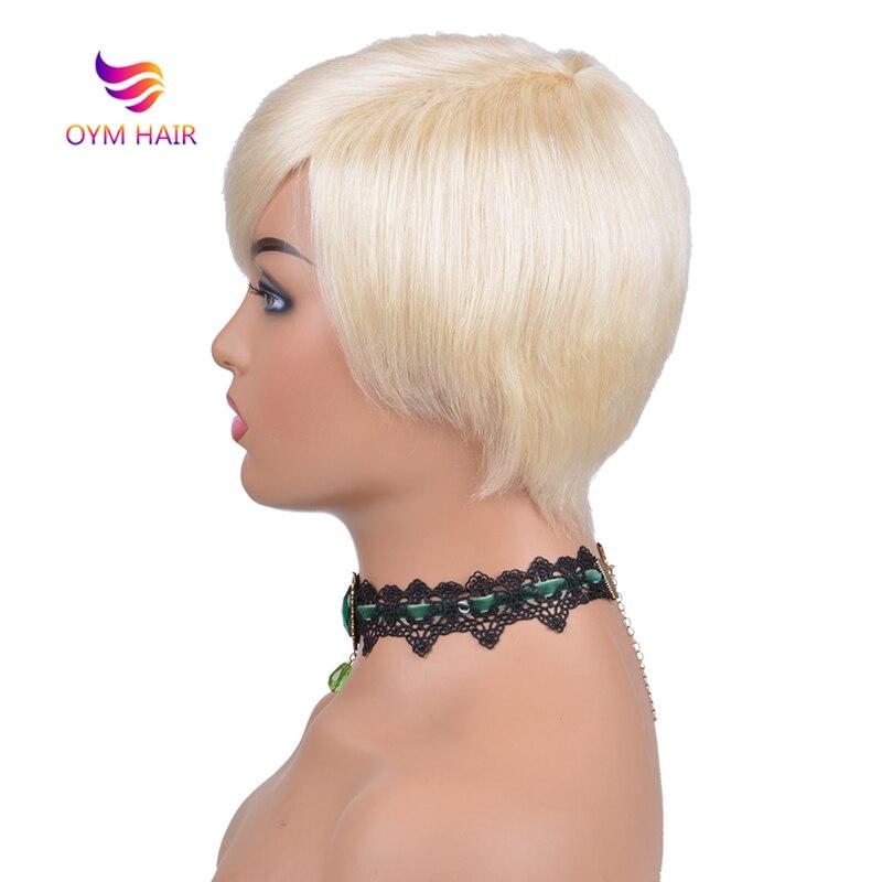 ombre loira peruca cabelo humano 613 peruca reta curta com franja