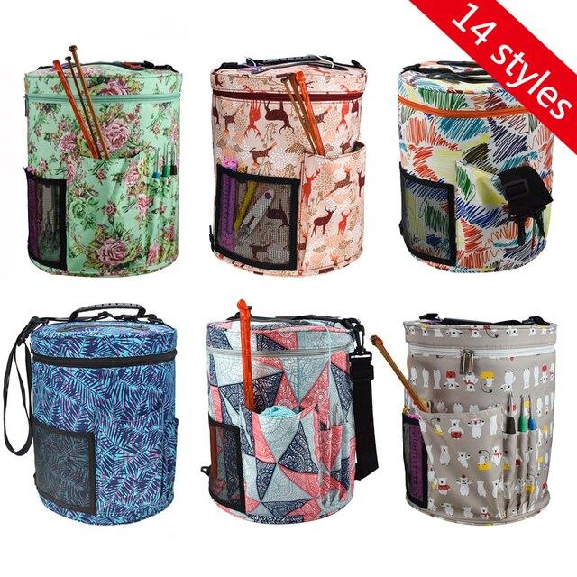 14 Styles Knitting Bag Yarn Organizer Bag For Wool Crochet Hooks Knitting Needles Sewing Set DIY Yarn Balls Storage Bag