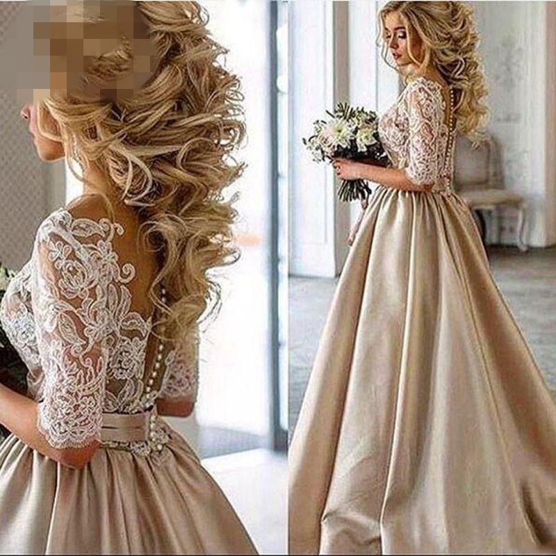 Vintage Lace Champagne Wedding Dresses 2020 Sheer Neck African
