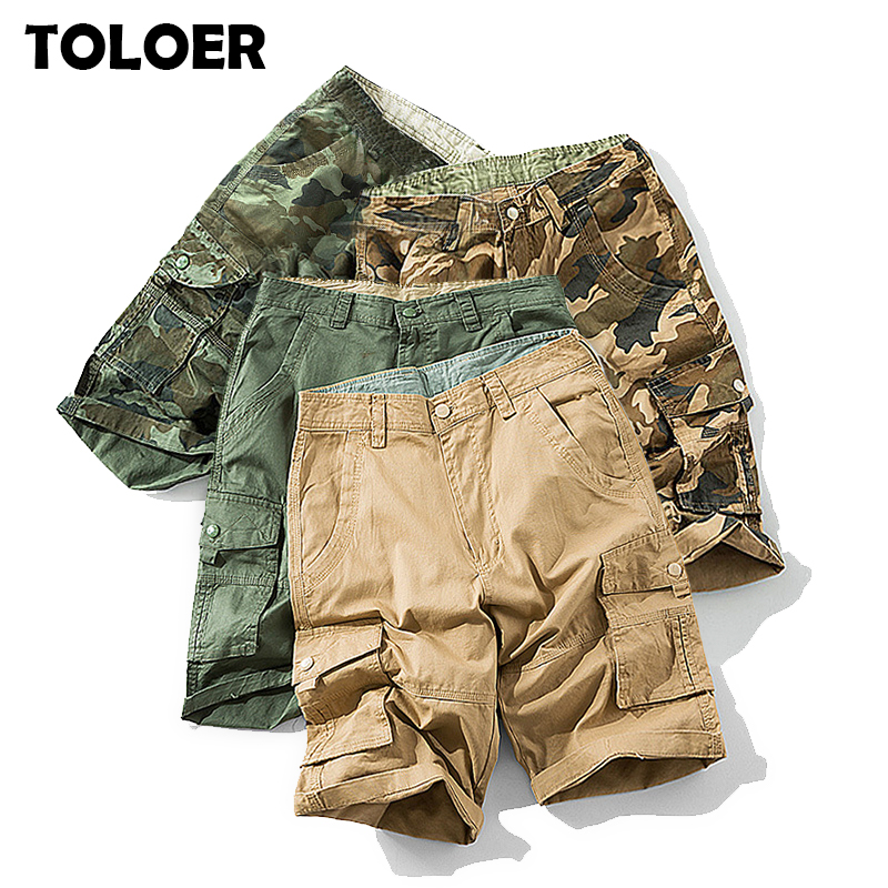 2020 Mens Military Cargo Shorts Summer Army Green Cotton Shorts Men Loose Multi-Pocket Shorts Homme Casual Bermuda Trousers 40