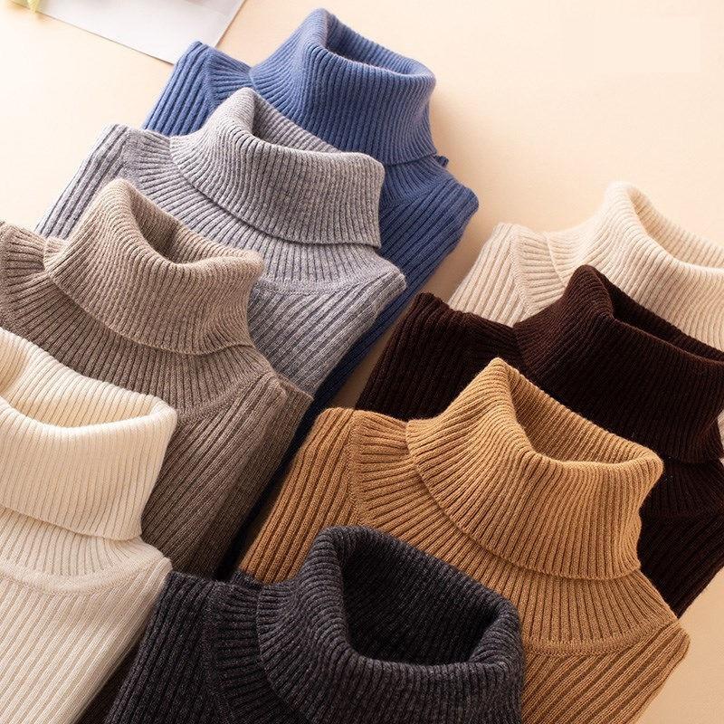 Pull en cachemire mélangé à col roulé pour Femme, tricot doux à manches longues, nouvelle mode automne