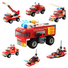 Marine Fire Station Building Blocks Fireman Action Figures LegoED City Series Bricks Fire Rescue Role Play Toys For Children недорого