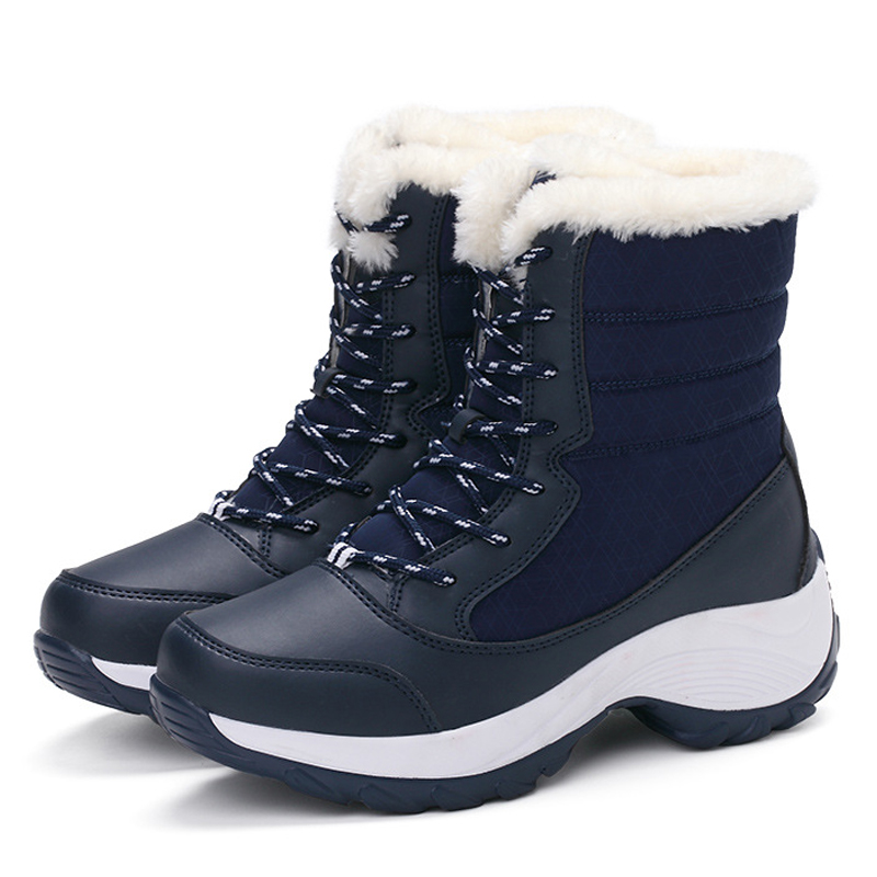 2019 Women Snow boots Waterproof Non-slip Parent-Child Winter Boots Thick Fur Platform Waterproof and Warm Shoes Plus Size 31-42 38