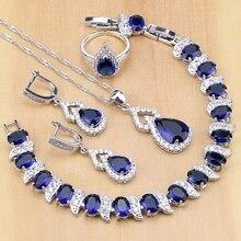Mavi zirkon beyaz kristal 925 ayar gümüş takı setleri gelin açık yüzük/küpe/kolye/kolye/bilezik