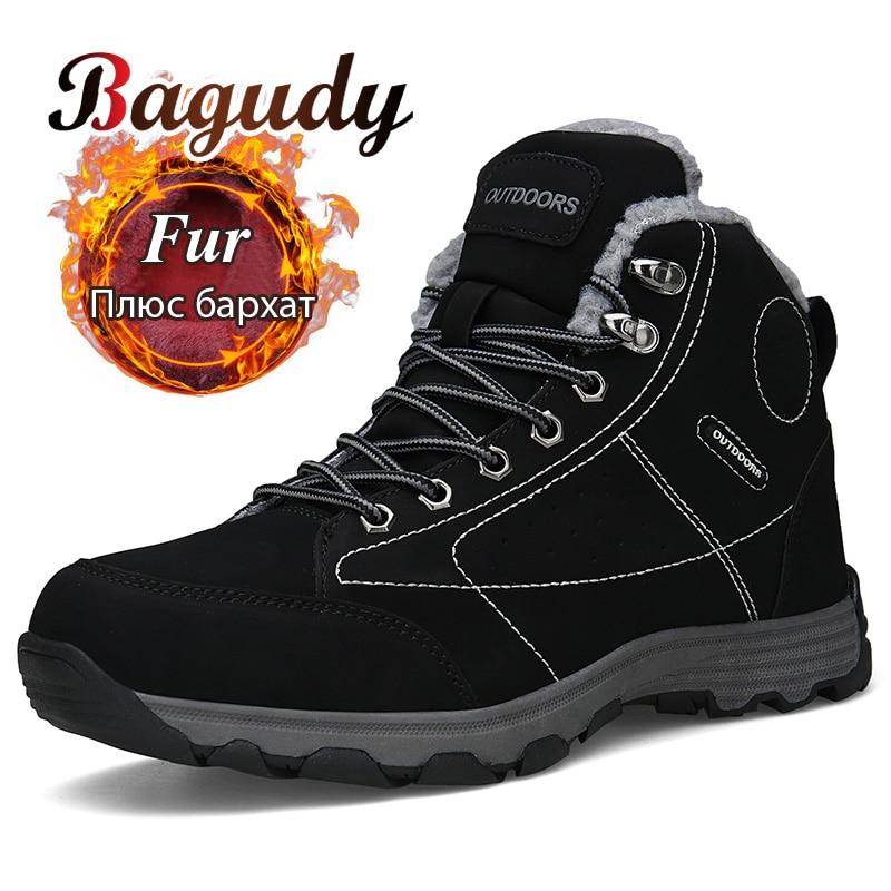 Super Warm Men Winter Boots Quality Suede Leather Men Boots Warm Plush Snow Boots Fashion Winter Shoes Men Outdoor Boots Shoes