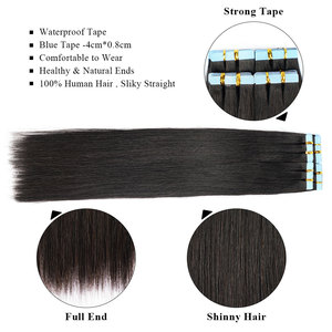 Image 5 - Tape in Human Hair Extensions Natural Real Hair 20/40pcs Machine made Remy on Double Tape Adhesive Human Hair Extensions