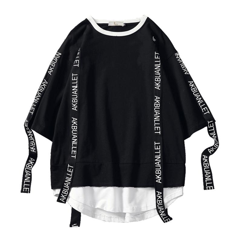 2020 Summer Style Men T Shirt Hip Hop O Neck Short Sleeve Casual Ribbon Decoration Streetwear Top Tees Men