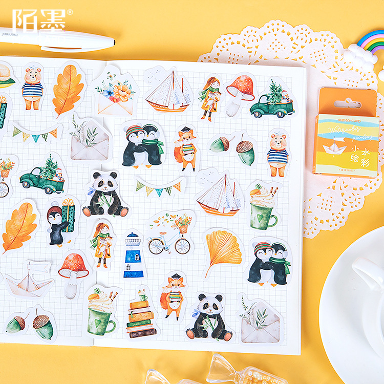 46pcs Animal Forest Collections Adhesive Stickers Decorative Scrapbooking Diary Album Stick Label Paper Decor