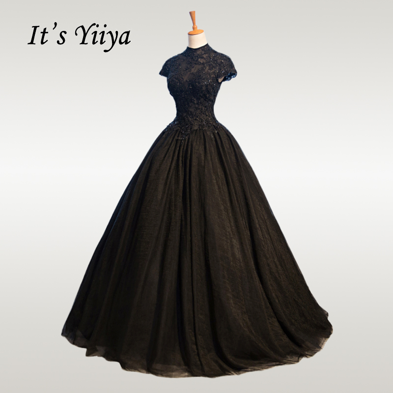 Wedding-Dress Crystal Elegant High-Neck Plus-Size Lace Vestido-De-Novia Long Black Yiiya