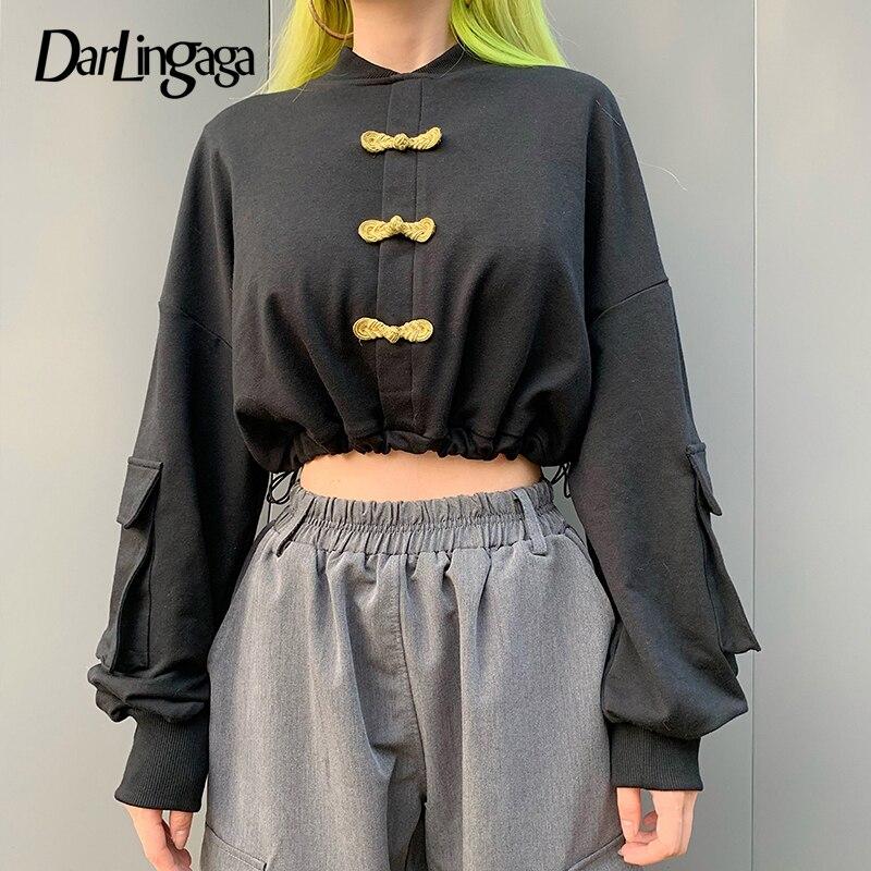 Darlingaga Chinese Style Vintage Autumn Sweatshirt Women Tops Fashion Buckle Cropped Pullover Drawstring Sweatshirts Hoodie 2019