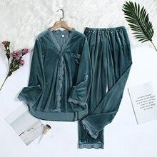 Conjunto de pijama de inverno feminino roupas quentes de veludo de ouro manga longa camisa calças de pijama conjuntos loungewear feminino pijamas mujer invierno