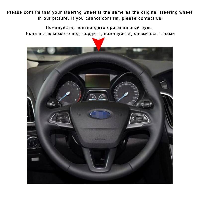 Image 3 - Автомобильная оплетка на руле Крышка для Ford Focus 3 2015 2018 Kuga 2016 2019 Escape C MAX Ecosport 2018 2019 крышка автомобильного колеса-in Чехлы на руль from Автомобили и мотоциклы