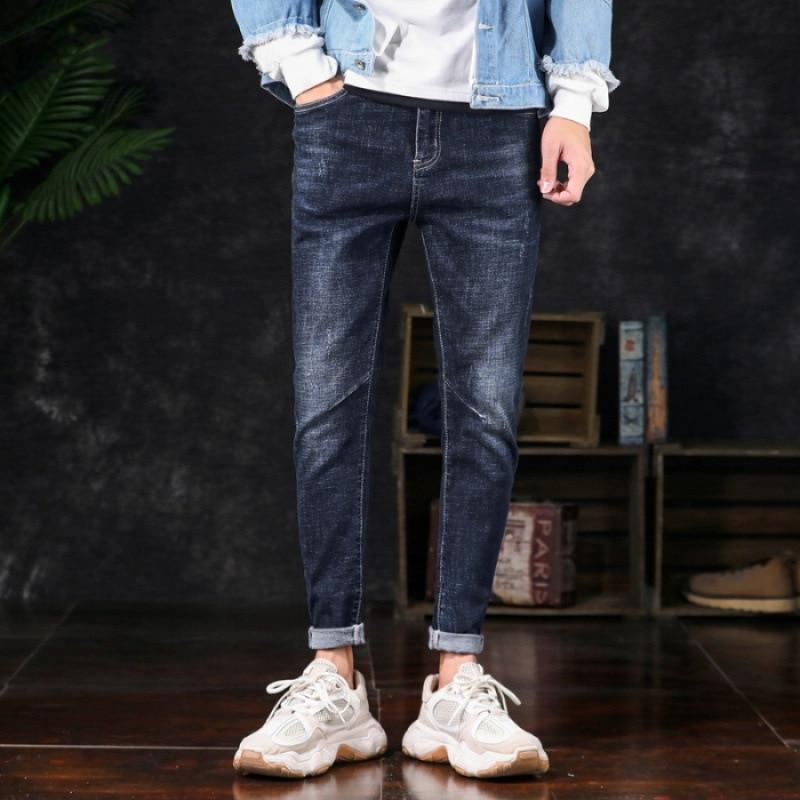 Summer 9 Capri With Holes Light Blue Jeans Men Korean-style Slim Fit Beggar Skinny Pants Fashion Men'S Wear MEN'S Trousers