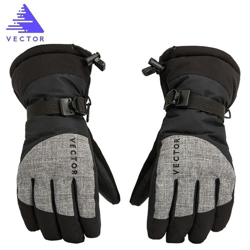 Vector Extra Thick PU Palm Ski Gloves Winter Sport Women Men Warm Snowmobile Motorcycle Windproof Waterproof Snowboard Fishing