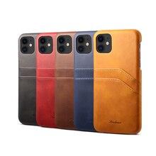 יוקרה בציר עור מפוצל כפולה כרטיס חריץ טלפון נייד מקרה עבור iPhone 7 8 בתוספת X XR XS מקסימום 11 11Pro מקס נייד טלפון חזרה כיסוי