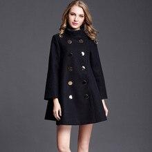 Wool Coat Women Double Breasted Black Woolen Cape Winter Warm Blend Coat Elegant Luxury Brand Outwear Overcoat 2019 New Arrival