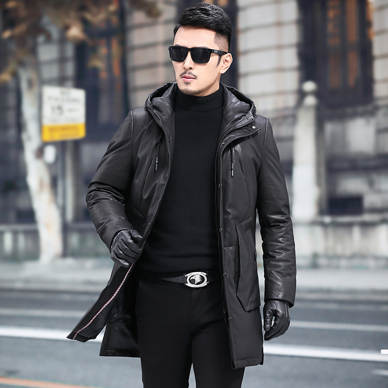 Leather Jacket Sheepskin Genuine Leather Jacket Men Winter Warm Duck Down Coat Hooded Mens Leather Jacket 18077-08 YY698