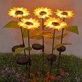 2 шт./компл. светодиодный светильник для лужайки подсолнуха Открытый водонепроницаемый ландшафтный светильник с цветами для двора садовый ...