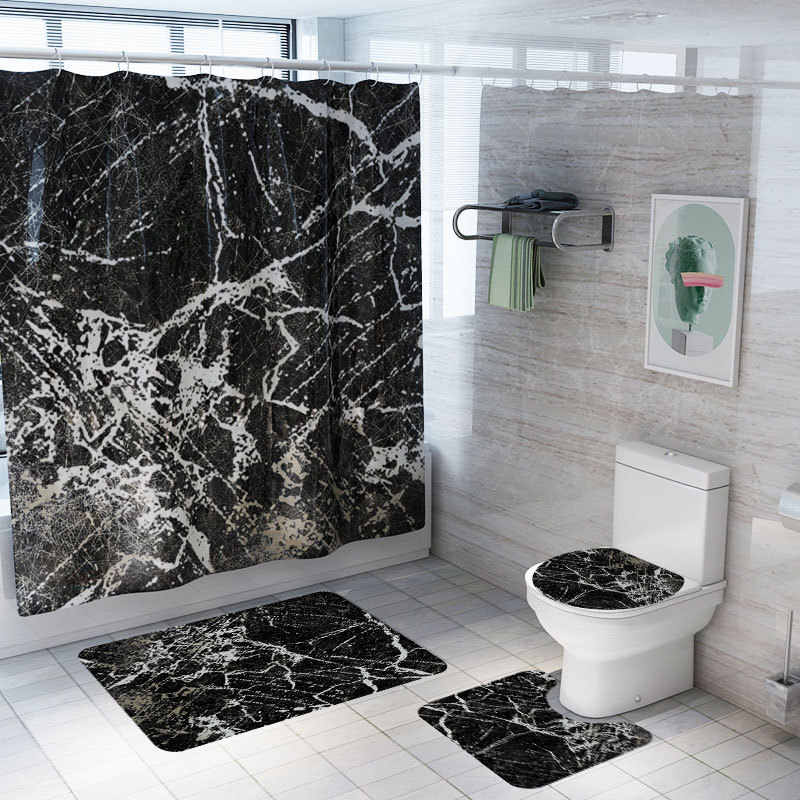 New Marble Style Shower Curtain Mat