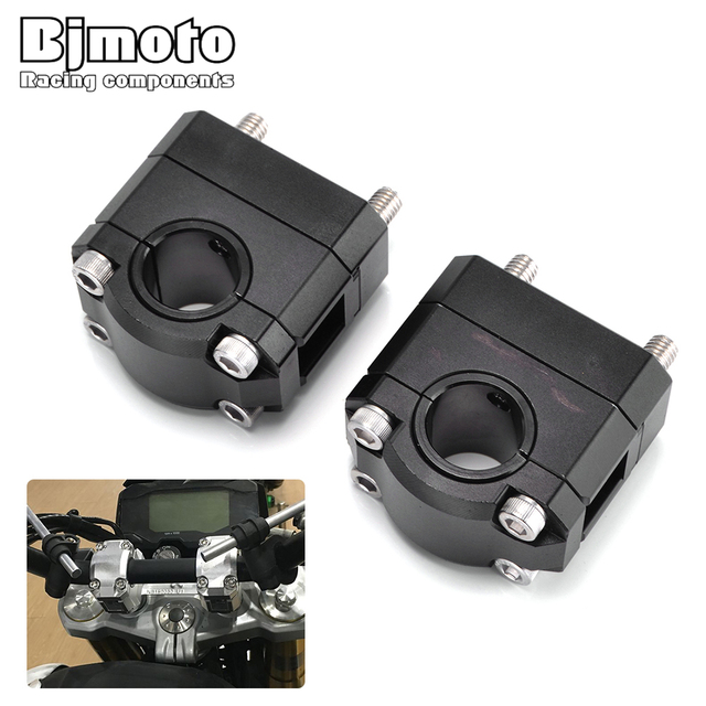 BJMOTO Motorcycle CNC 22mm 28mm Motorcycle Bar Clamps Handlebar risers Adapter For Suzuki Yamaha KTM BMW Universal moto parts