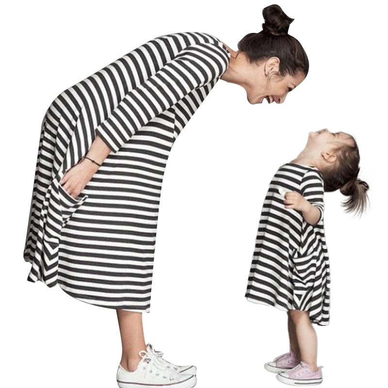 2019 New Mom and Child Family Fashion Same Kit Little Girl Clothes Daughter Baby Dress