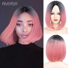 Peluca sintética recta corta para mujer cabello Natural Bob, fibra resistente al calor, color negro, Rosa y Rojo, pelucas rubias, Riversa