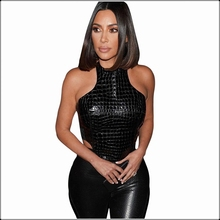 Women Sexy Leather Black Vest Summer Fashion Bodycon Short Tank Tops Sleeveless Back Zipper Slim Crop Top Nightclub Ladies