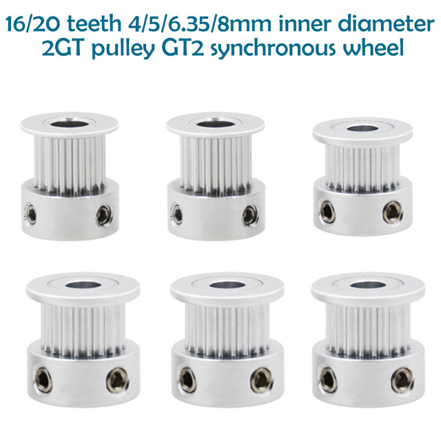New 3D Printer Parts GT2 Timing Pulley 16 Tooth 2GT 20 Teeth Aluminum Bore 5mm 8mm Synchronous Wheels Gear Part For Width 6mm