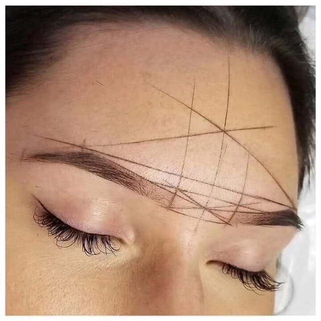 Microblading Line Mark Ruler Permanent Makeup Pre-made Tools Eyebrow Design Measure Tattoo Supplies with 10pcs Thread Lines Tool 3