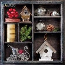 Laeacco Рождественские фоны деревянная полка сосна ветка конус