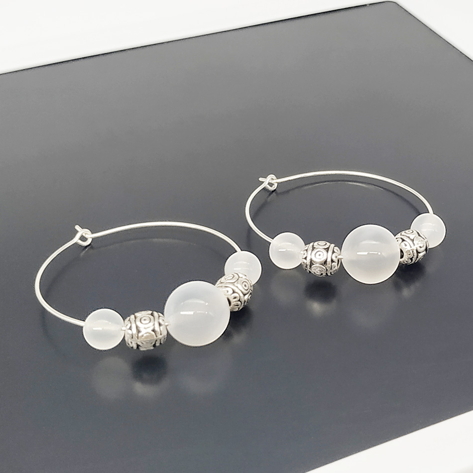 SHELA Green Stone Tibetan silver bead Round Fashion Hoop Earrings for Women Drop Earrings Pendientes in Hoop Earrings from Jewelry Accessories