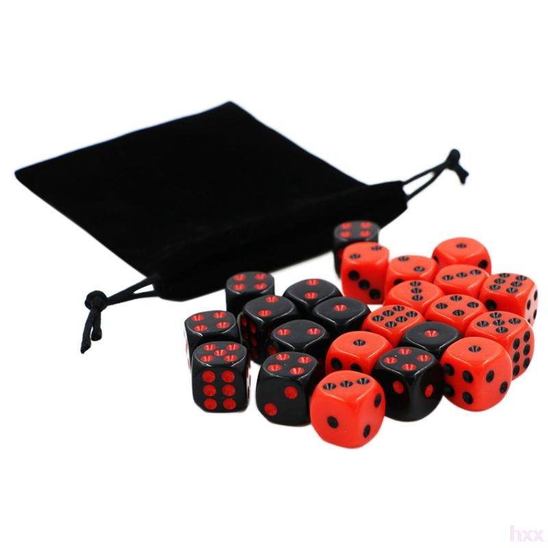 New 24pcs/set 16mm Dice Round Corner Point Dice RPG Gambling Games Cube Party Board Game Black Red With Velvet Bag