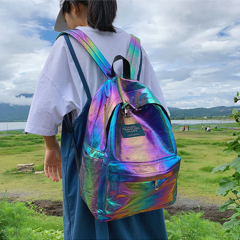 2019 Women Holographic Laser Unicorn Backpack Female Korean Version Of The Tide Colorful Student School Bag Backpack Schoolbag