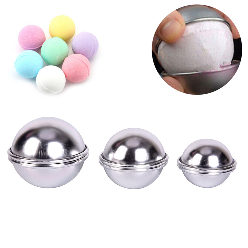 6pcs/pack Metal Aluminum Alloy Bath Bomb Mold  3D Ball Sphere  Bombs DIY Bathing Tool Accessories Creative Mold