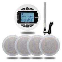 Morskich radio stereo bluetooth FM AM MP3 odtwarzacz Audio + 4 cal morskich wodoodporne zewnętrzne głośniki do łodzi ATV UTV motocykl